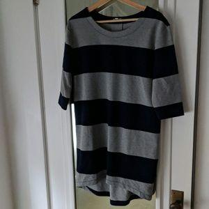 Gap Large Navy Gray Stripe Pullover Dress High Low